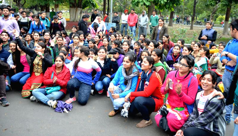 Students stage a protest against the Vice Chancellor of Guru Nanak Dev University in Amritsar, on March 2, 2015.
