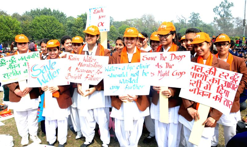 Students take part in a rally organised to raise awareness on water conservation in Amritsar on Feb. 16, 2015.