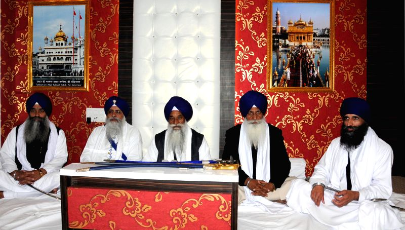 The five Sikh high priests during a meeting at Akal Takht secretariat in Amritsar, on March 9, 2015.