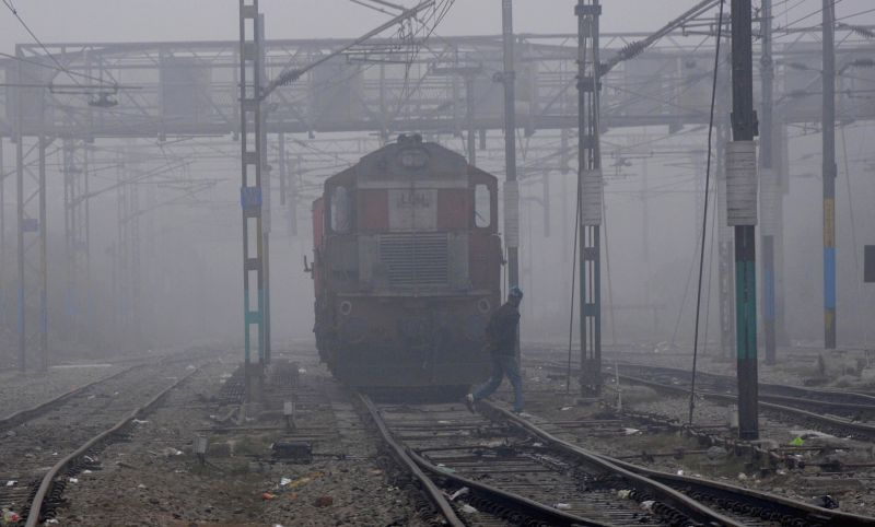 Trains get delayed due to dense fog in Amritsar on Jan 3, 2015.