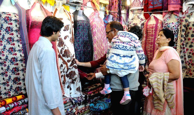 Visitors at Pakistan stall set-up at Punjab International Trade Expo 2014 in Amritsar on Dec 4, 2014.