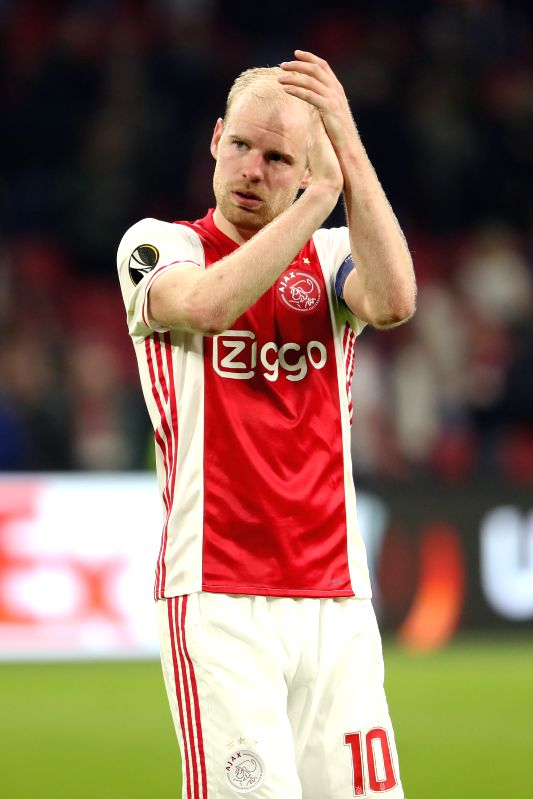 AMSTERDAM, April 14, 2017 - Davy Klaassen of Ajax gestures to audience during the UEFA Europa League quarter final first leg soccer match between Ajax and FC Schalke 04 in Amsterdam, the Netherlands, ...
