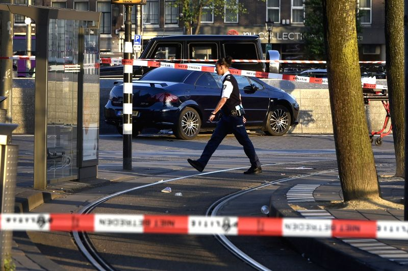 AMSTERDAM, June 10, 2017 - Photo taken on June 10, 2017 shows the site of a car crash in Amsterdam, the Netherlands. In front of Amsterdam Central Station a car hit pedestrians and crashed against a ...