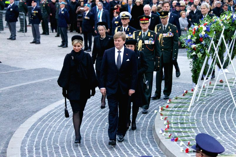 AMSTERDAM, May 4, 2017 - Dutch King Willem-Alexander (R, front) and Queen Maxima (L, front) attend the ceremony to commemorate all civilians and members of the armed forces of the Kingdom of the ...