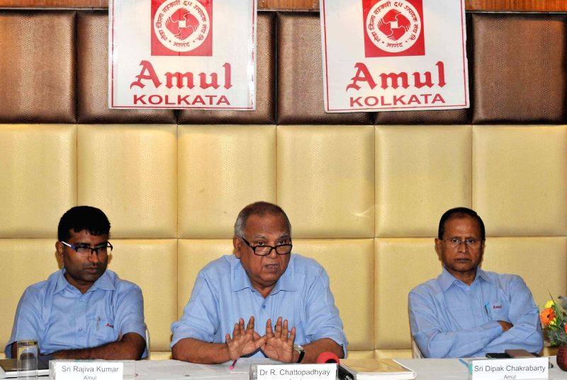 Amul Dairy Officer on Special Duty (Kolkata) R Chattopadhyay  addresses a press conference in Kolkata, on May 25, 2017.
