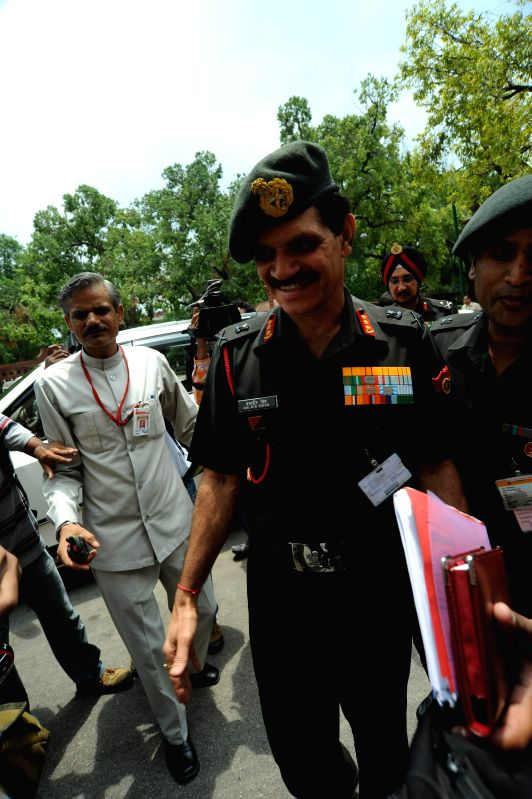 Amy Chief-designate, Lt. General Dalbir Singh Suhag at Parliament in New Delhi on July 24, 2014. - Dalbir Singh Suhag