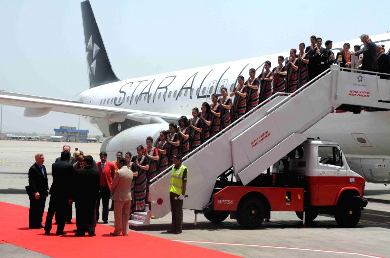 An A320 in the livery of Star Alliance being unveiled at the IGI Airport to mark the induction of Air India into Star Alliance, a club of 27 airlines in New Delhi on July 11, 2014. The Alliance ...