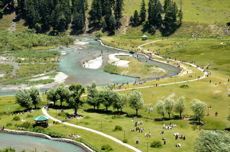 6. Betaab Valley in Pahalgam. An aerial view of Betaab Valley in Pahalgam of Jammu and Kashmir's Anantnag district on June 5, 2016.