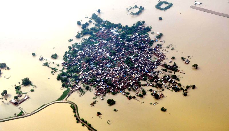 An aerial view of flood affected districts of Bihar on Aug 18, 2014. Bihar government officials carried out an aerial survey of flood affected Nawada and Nalanda districts of the state.
