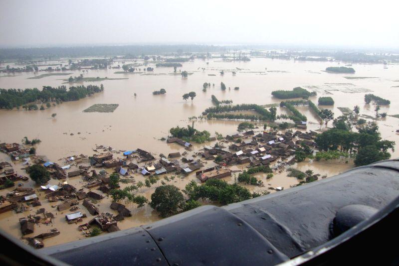 An aerial view of flood hit areas of Bahraich and Nanpara in Uttar Pradesh on Aug 18, 2014.