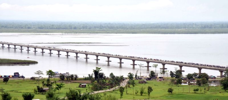 An aerial view of the Dhola-Sadiya bridge across River Brahmaputra.