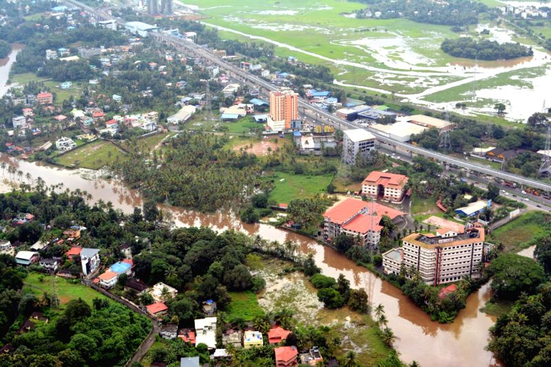 An aerial view of the flood affected Aluva in Kochi on Aug 12, 2018.