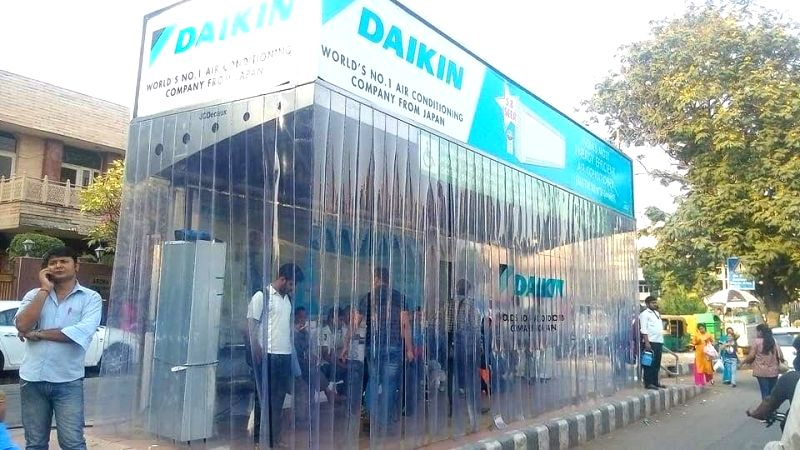 An air conditioned bus stand at Lajpat Nagar Ring Road of New Delhi on May 16, 2017.