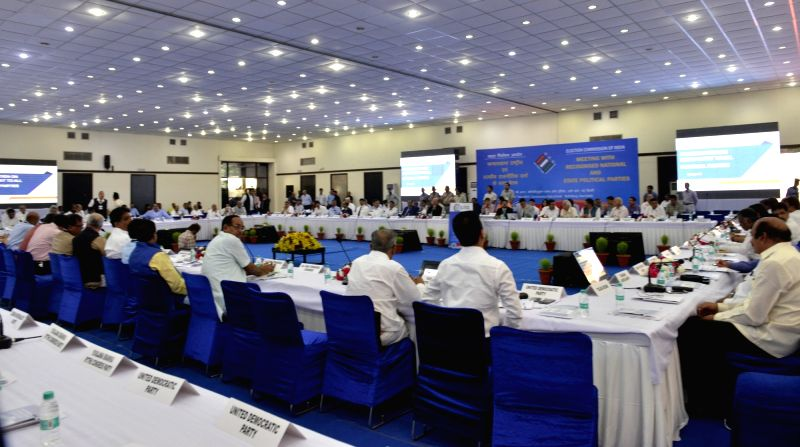 An all party meeting organised by Election Commission of India (ECI) on Electronic Voting Machines (EVMs) and other electoral reforms underway in New Delhi on May 12, 2017.