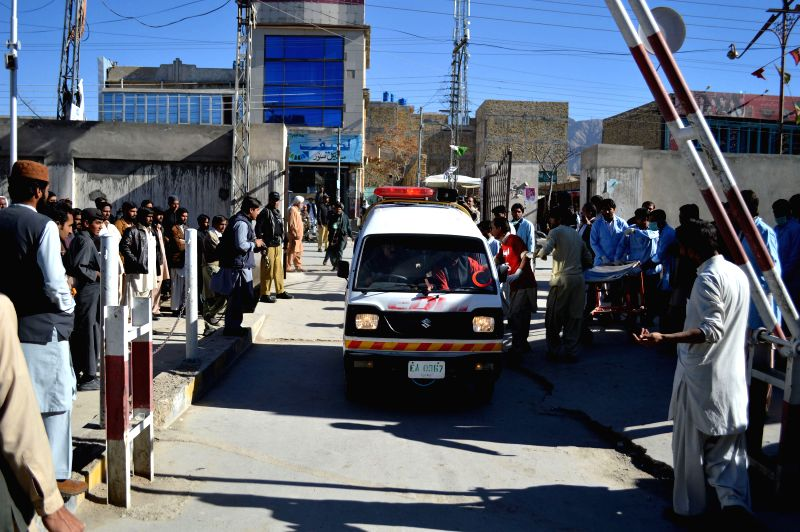An ambulance carrying injured people arrives at a hospital in Quetta, southwest Pakistan, Nov. 17, 2015. At least 13 people were killed and over 100 others injured ...