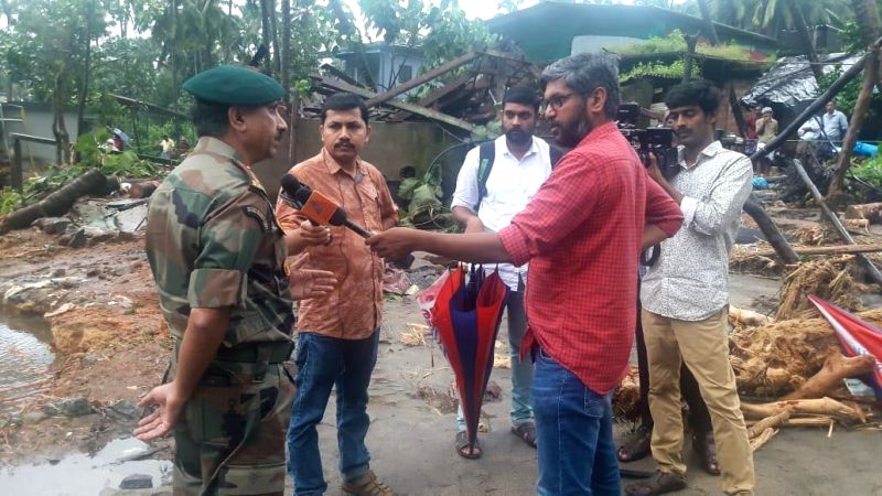 An Army officer talks to press regarding their rescue operation at Thamarassery Churam in Kozhikode, Kerala on Aug 10, 2018.
