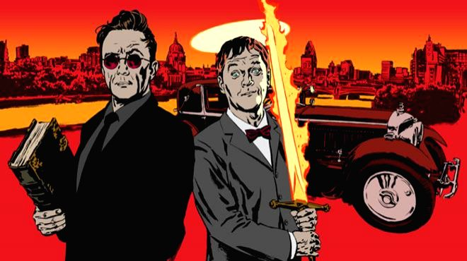 "An artistic depiction of the two supernatural protagonists - demon A. Crowley (left) and angel Aziraphale (right) of Terry Pratchett and Neil Gaiman\'s co-authored ""Good Omens\"", a comic look at the ..."