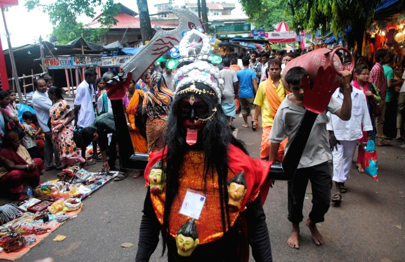 An ascetic at the Kamakhya Temple during the 2nd day of Ambubachi Mela, also known as Ambubasi festival in Guwahati on June 23, 2014.