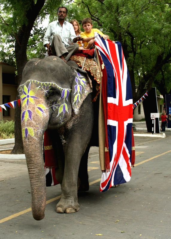 An elephant draped in the Union Jack lends an Indian touch to the celebrations in spirit of Commonwealth.