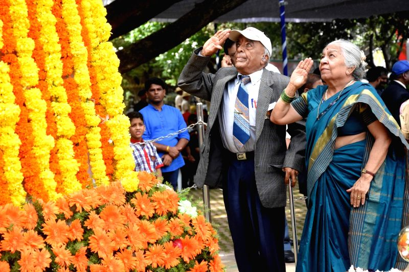 An Ex-Serviceman pays homage to the martyrs on the occasion of Kargil Vijay Diwas at National Military Memorial Park, in Bengaluru on July 26, 2018.