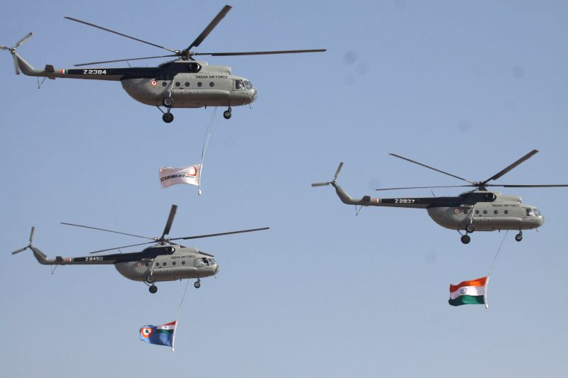 An IAF aircraft during the Aero India-2015 Air Show, at Yelahanka Air-force Station, in Bengaluru on Feb 18, 2015.