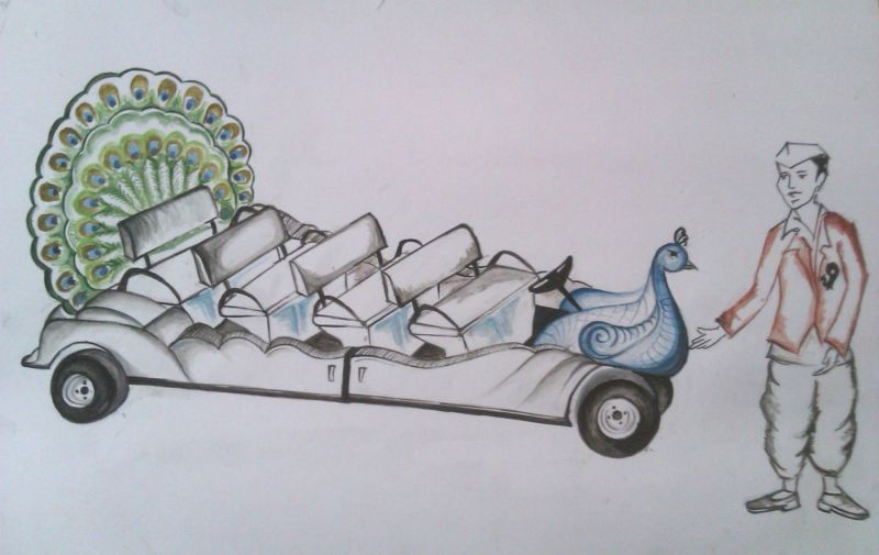 An iamage of peacock chariot suggested by PETA to replace horse drawn chariots in Mumbai.