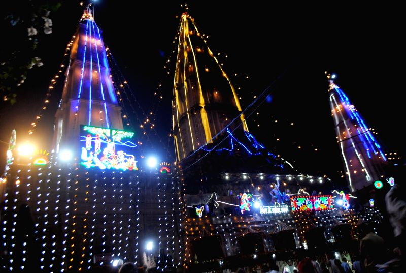 An illuminated Govardhan Danghati Mandir in Mathura on July 18, 2016.
