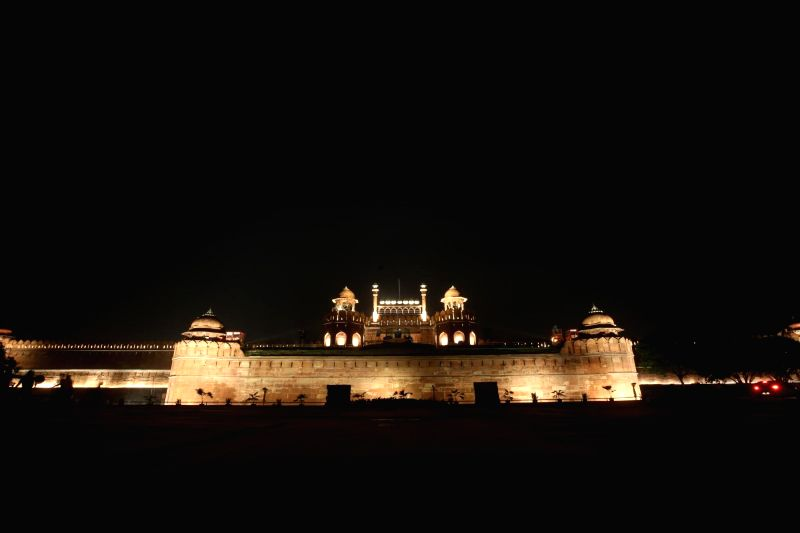 An illuminated Red Fort in New Delhi on Aug 10, 2018.