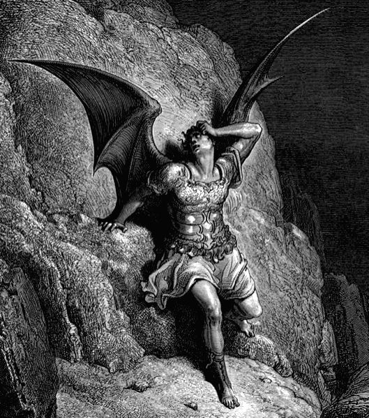 "An illustration from ""Paradise Lost\"" of Fallen angel Lucifer, who was a Byronic hero even before the term was coined"