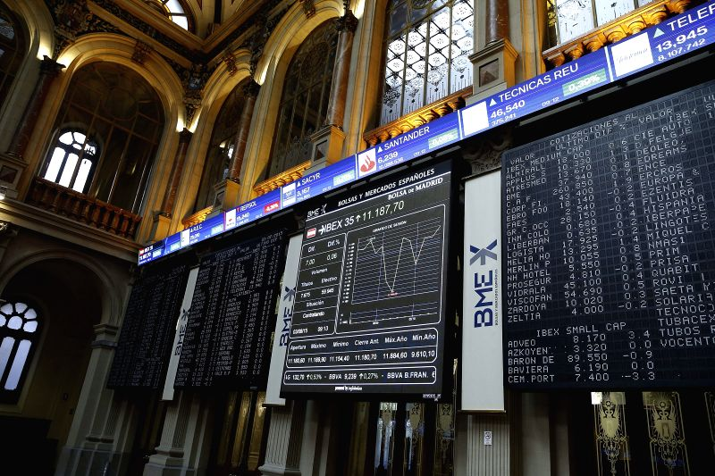 An information panel shows economic data at the stock market in Madrid, Spain, on 03 August 2015. The Spanish index IBEX35 dropped 0.21 per cent at the start of the trading day. EFE/Paco Campos/IANS