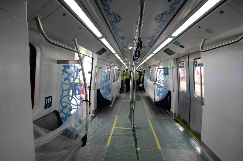An inside view of a coach of Hyderabad Metro train in Hyderabad on Sept 2, 2014.