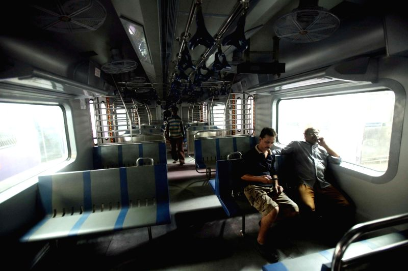 An inside view of an air-conditioned coach of a Mumbai local train on April 5, 2016.