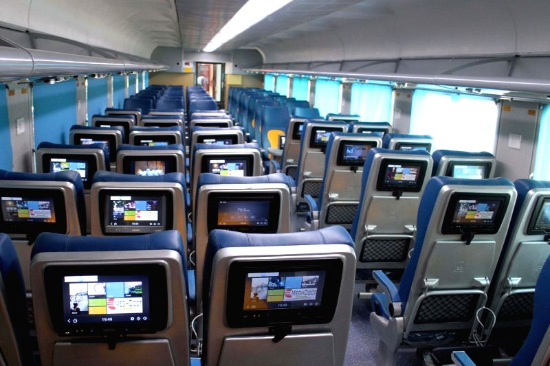 An inside view of country's first Tejas rake that offers enhanced passenger comfort, communications and entertainment facilities stationed at Safdarjung railway station in New Delhi on ...