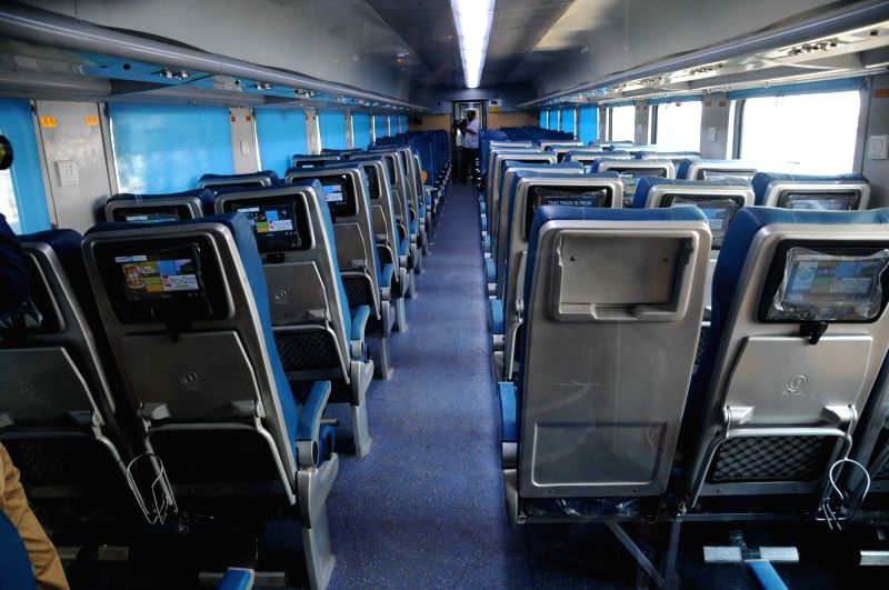 An inside view of country's first Tejas rake that offers enhanced passenger comfort, communications and entertainment facilities stationed at Chhatrapati Shivaji Terminus railway station in ...