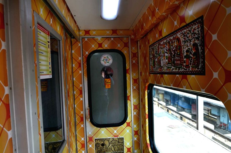 An inside view of the Rajendra Nagar New Delhi Rajdhani Express decorated with Mithila painting, in Patna on June 9, 2018.