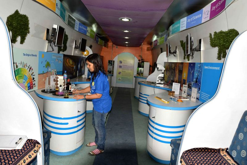 An inside view of `The Science Express - Biodiversity Special` which was flagged off from Safdarjung Railway Station, in New Delhi on July 28, 2014.