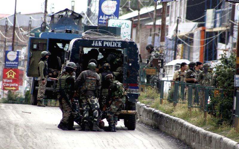 Anantnag: Soldiers at the site where two masked militants in a car attacked a joint party of local police and the CRPF in K.P.Road area of Anantnag on June 12, 2019.