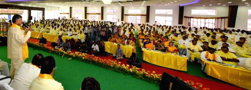 Andhra Chief Minister and Telugu Desam Party (TDP) president N. Chandrababu Naidu during party's state general body meeting in Tirupati on Nov 13, 2015. - N. Chandrababu Naidu