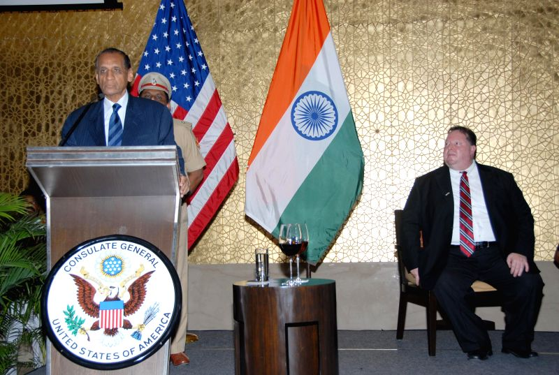 Andhra Governor E S L Narasimhan addresses during the 238th American Independence Day Celebrations in Hyderabad on July 4, 2014.