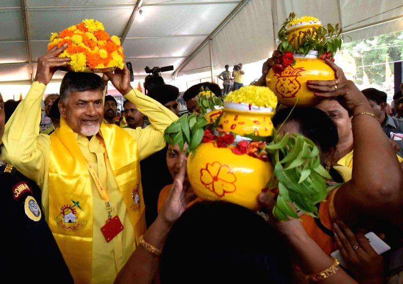 Andhra Pradesh Chief Minister and TDP chief N Chandrababu Naidu during the inauguration of 'Mahanadu' - party's annual party conference in Tirupathi on May 27, 2016. - N Chandrababu Naidu
