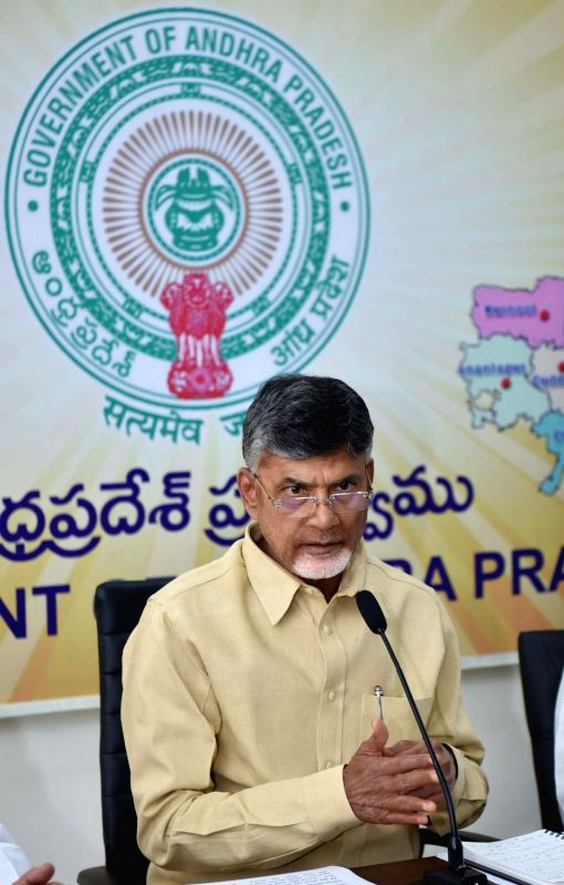 Andhra Pradesh Chief Minister and Telugu Desam Party (TDP) chief N. Chandrababu Naidu addresses a press conference at the Secretariat, in Vijayawada on July 21, 2018. - N. Chandrababu Naidu