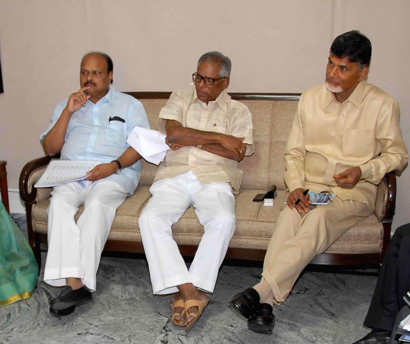 Andhra Pradesh Chief Minister N Chandrababu Naidu during a programme in Hyderabad on June 18, 2014. - N Chandrababu Naidu