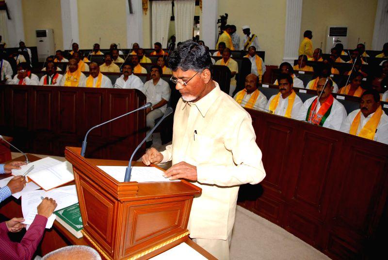 Andhra Pradesh Chief Minister N. Chandrababu Naidu takes oath as a legislator at Andhra Pradesh Legislative Assembly in Hyderabad on June 19, 2014. - N. Chandrababu Naidu