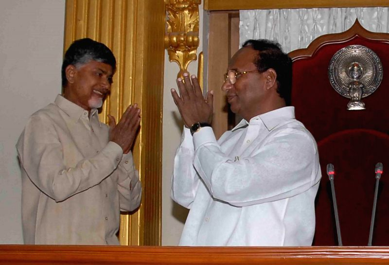 Andhra Pradesh Chief Minister N. Chandrababu Naidu greets Kodela Sivaprasada Rao who was has been unanimously elected as the first Speaker of the Legislative Assembly of Andhra Pradesh post ... - N. Chandrababu Naidu and Kodela Sivaprasada Rao