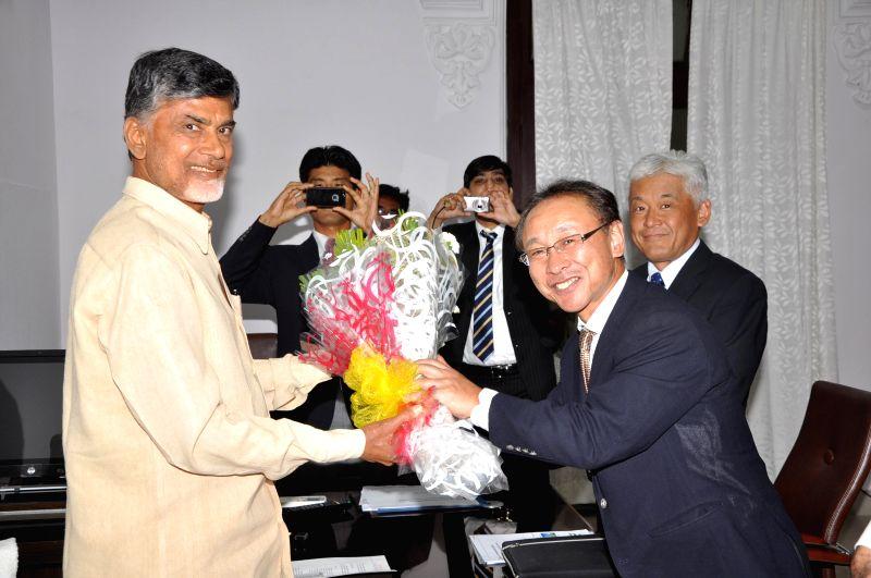 Andhra Pradesh Chief Minister N. Chandrababu Naidu during a meeting with with ISUZU Motors delegation at his office in Hyderabad on June 24, 2014. - N. Chandrababu Naidu