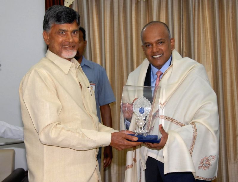 Andhra Pradesh Chief Minister N. Chandrababu Naidu during a meeting with Singapore's Foreign and Law Minister K Shanmugam in Hyderabad on July 3, 2014. - N. Chandrababu Naidu