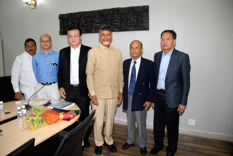 Andhra Pradesh Chief Minister N. Chandrababu Naidu during a meeting with a Thai delegation in Hyderabad on July 9, 2014. - N. Chandrababu Naidu