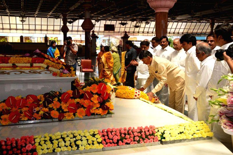 Andhra Pradesh Chief Minister N. Chandrababu Naidu visited Puttaparthi Sai Baba Samadhi in Hyderabad on July 24, 2014.