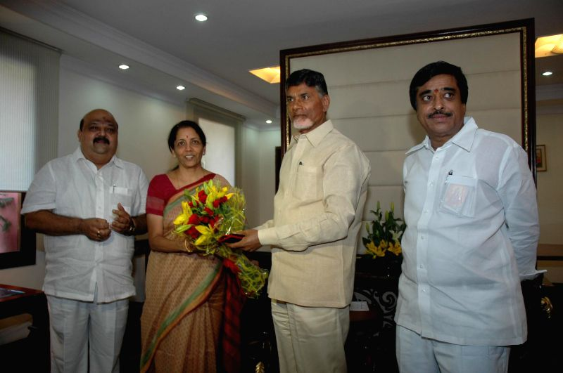 Andhra Pradesh Chief Minister N. Chandrababu Naidu calls on Minister of State for Commerce & Industry (Independent Charge), Finance and Corporate Affairs Nirmala Sitharaman in New Delhi on Aug ... - N. Chandrababu Naidu