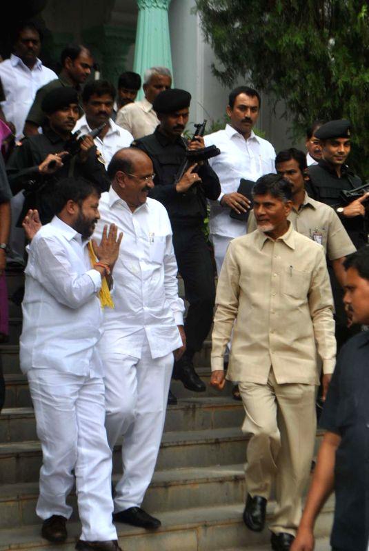 Andhra Pradesh Chief Minister N. Chandrababu Naidu at Telugu Desam Party (TDP) office in Hyderabad on Sept 3, 2014. - N. Chandrababu Naidu